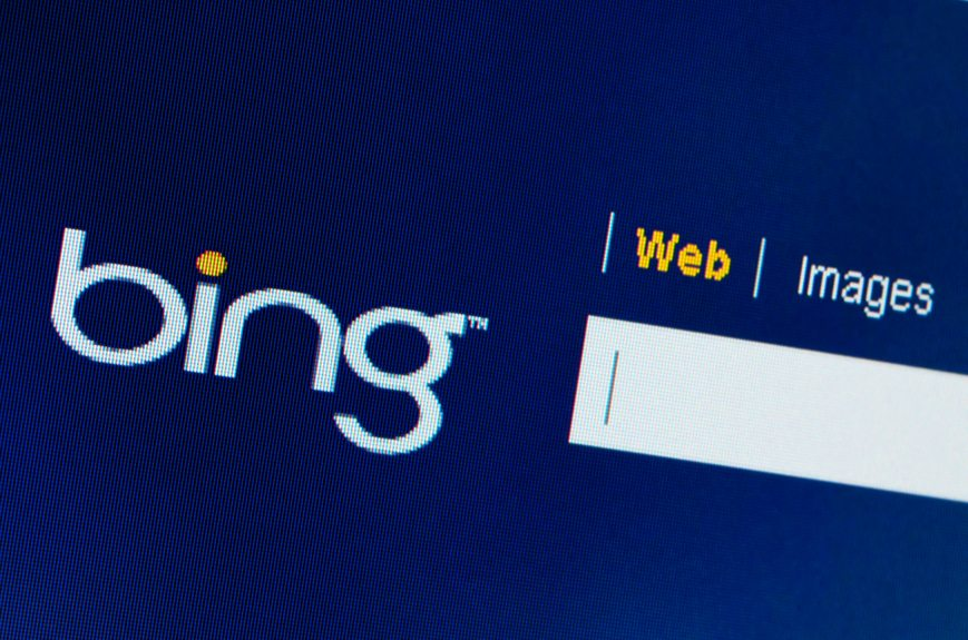 Bing search box on computer screen close-up October 20, 2011 in