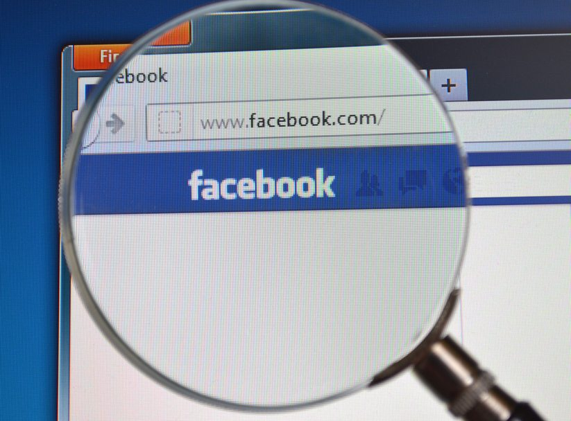 Facebook search with magnifying glass