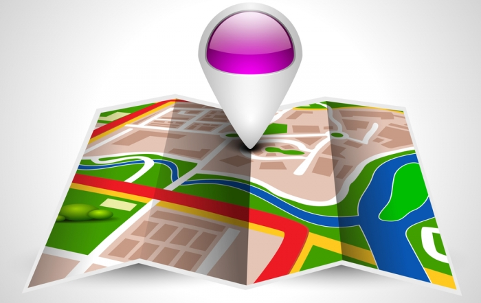 Navigation map or route map with pointer on grey background. EPS