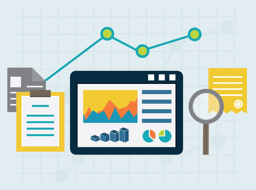 Programming process and web analytics elements. Flat style design