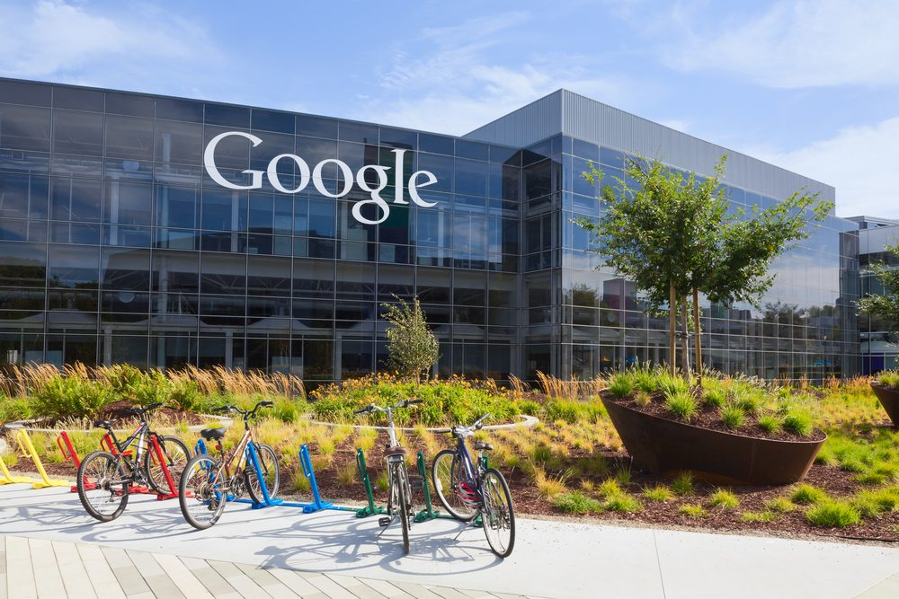 MOUNTAIN VIEW, CA/USA - July 14, 2014: Exterior view of a Google headquarters building. Google is an American multinational corporation specializing in Internet-related services and products