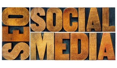 SEO and social media word abstract - isolated text in antique wood letterpress printing blocks